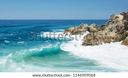 Massive Waves at the Point Lookout gorge on North Stradbroke Island during a king tide. Summer in Queensland, 2018 stock photo
