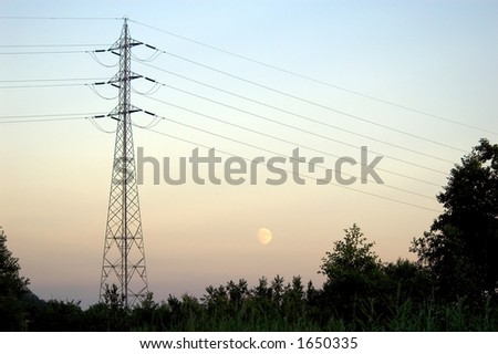 Mast and power lines
