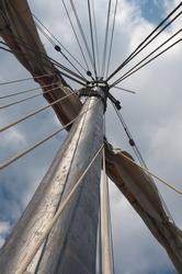 mast and sail of old hanseatic sailing ship