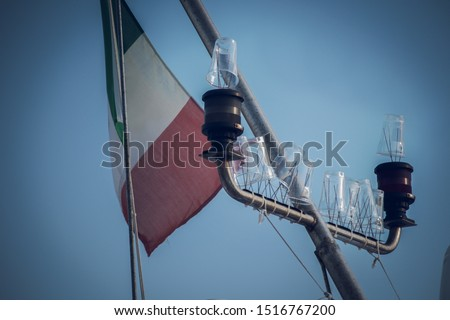 mast of a boat with flag and upturned glasses to keep the seagulls away