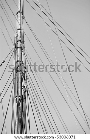 Mast of an antique sailboat