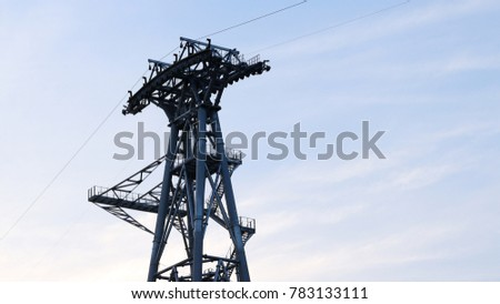 Mast of cable car of the cable car construction site