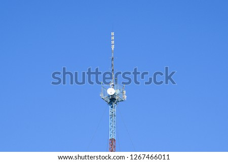 Mast tower relay Internet signals and telephone signals. #1267466011