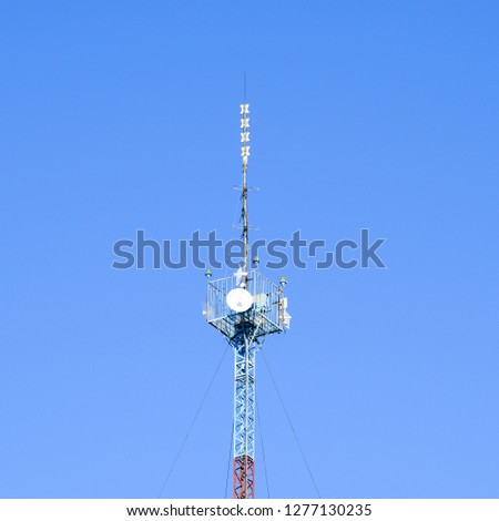 Mast tower relay Internet signals and telephone signals. #1277130235