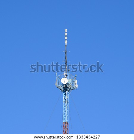 Mast tower relay Internet signals and telephone signals. #1333434227