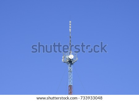 Mast tower relay Internet signals and telephone signals. #733933048