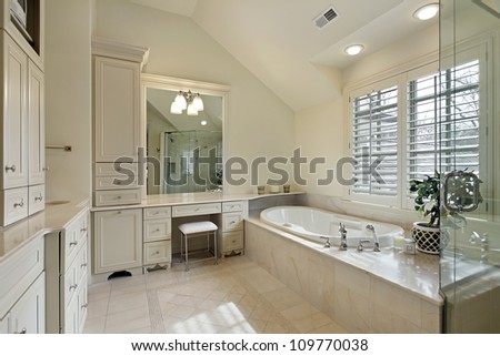 Master bath in modern home with glass shower - stock photo