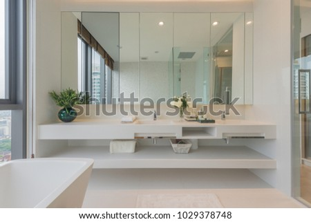 Master bathroom interior with walk in shower and white vanity cabinet