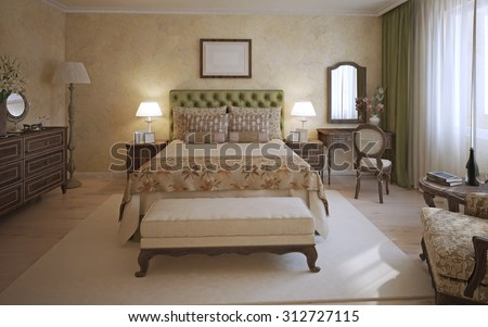 Master bedroom english style. A room with two-place bed, olive headboard and dark oak furniture. Bench and white carpet in the middle of the room. 3D render
