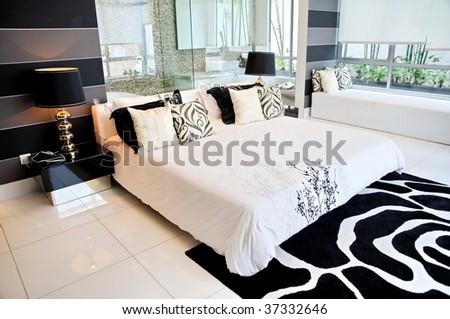 Master bedroom in a luxury condominium