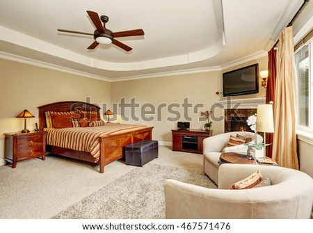 Royalty Free Stock Photos And Images Master Bedroom Interior With Corner Fireplace And King