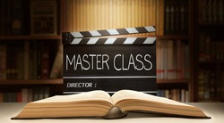 Master Class.Text title on film slate, or Movie clapper board in the library room.