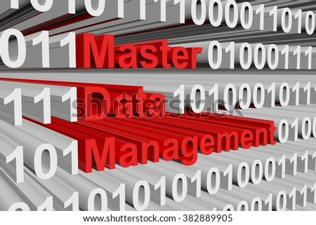 Master data management in the form of binary code, 3D illustration Foto d'archivio ©