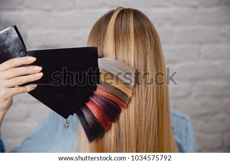 Master shows palette of hair colors on background of client.