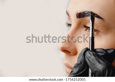 Master tinting of eyebrow hair women, brow correction. Foto stock ©