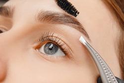 Master tweezers depilation of eyebrow hair in women, brow correction.