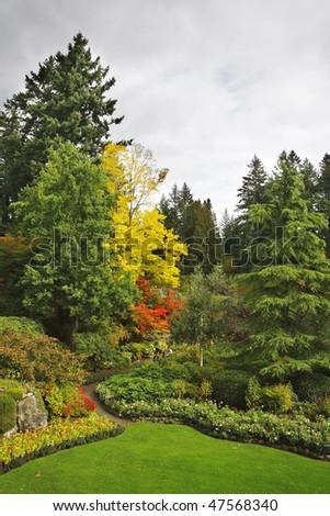 Masterpiece of landscape gardening art - Butchard -garden on island Vancouver in Canada
