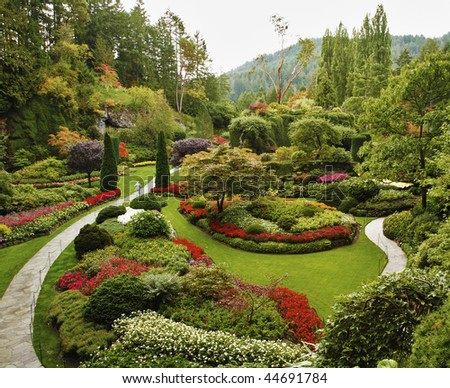 Masterpiece of landscape gardening art - Sunken-garden on island Vancouver - stock photo