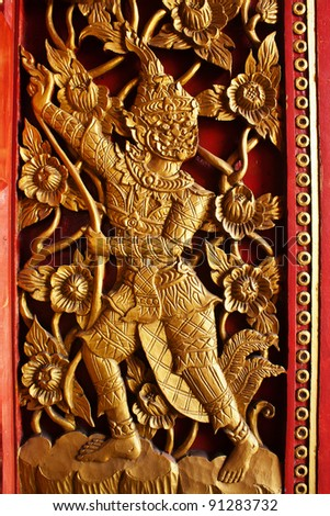 Masterpiece of traditional Thai style art old about Ramayana story on temple wall at Nan province,Thailand