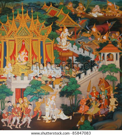 masterpiece of traditional Thai style painting art old about Buddha story on temple wall at Watmanow, Bangkok,Thailand
