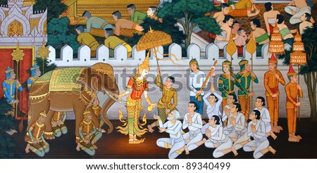 masterpiece of traditional Thai style painting art old about Buddha story on temple wall at Watmanow Bangkok Thailand