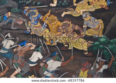 Masterpiece of traditional Thai style painting art  on temple wall at  Bangkok,Thailand