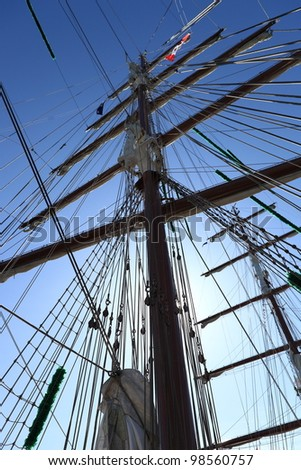 Masts and rigging of a sailing ship