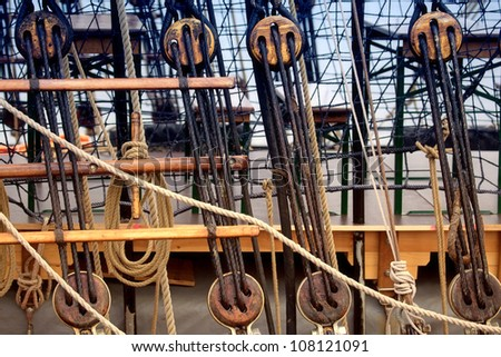 Masts and rigging of a traditional sailing vessel