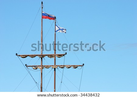 Masts of old Russian ship
