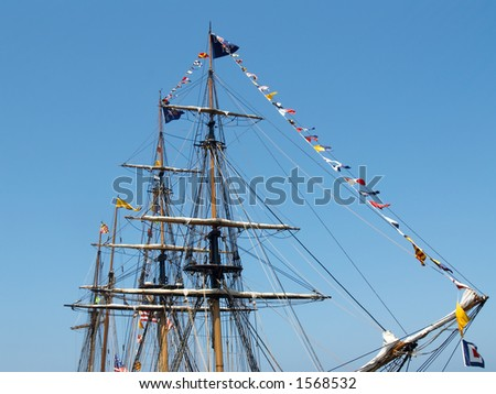 Sailing Ship Rigging Schematics http://www.shutterstock.com/pic-1568532/stock-photo-masts-rigging-and-flags-of-a-tall-sailing-ship.html