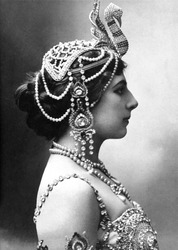 Mata Hari, exotic dancer, was executed in 1917 as a WW1 German Spy. Profile portrait said to depict the dancer in 1910.