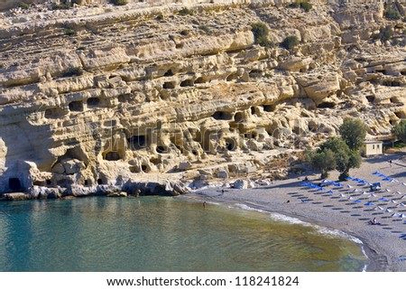 Matala beach at Crete island in Greece