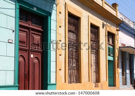 Matanzas, Cuba - city architecture. Decorative colorful colonial architecture.