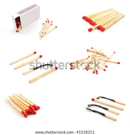 match and matchbox still life collection in white background