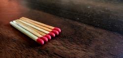 Match box sticks on an wooden table