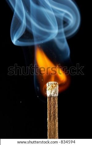 Match on fire - stock photo