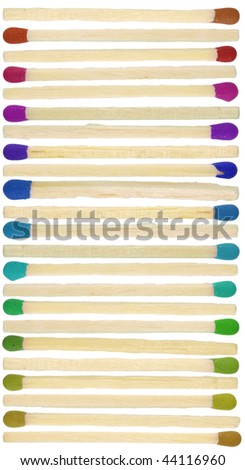 Match sticks with colored heads isolated on white