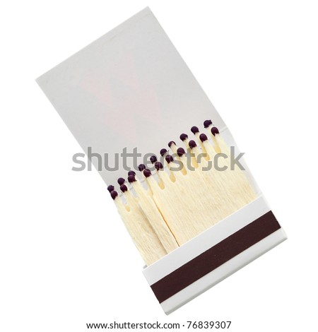 Matchbook close-up isolated over the white background