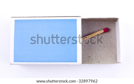Matchbox and last match isolated on white background
