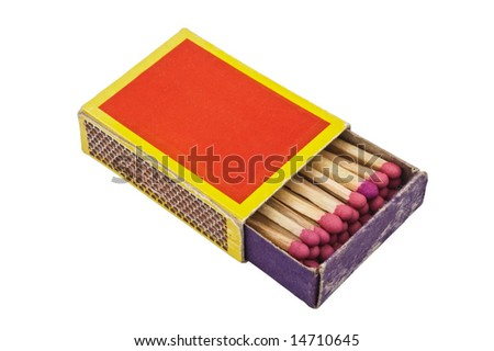 Matchbox isolated on white background, with clipping path.