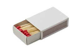 Matchbox with red matches isolated on white background