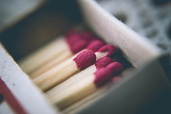 Matches in a box close up