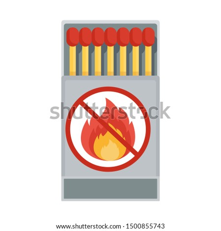 Matches in a matchbox. Matches. Flat cartoon matches illustration. Objects isolated on a white background.