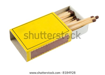 Matches in a matchbox on a white background with copy space