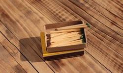 Matches in an open box on the table