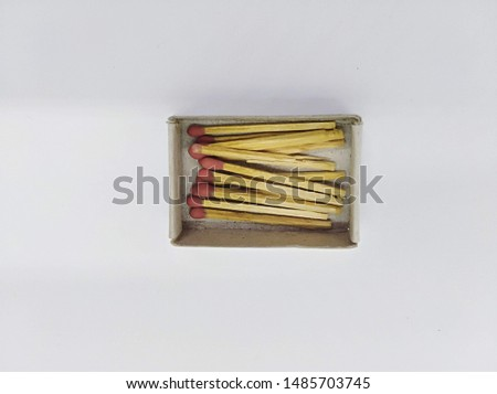 Matches in the box and matches on the background