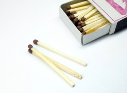 Matches on a white background. Matches in a box. To start a fire.