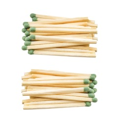 matches on a white background. matches with green gray on a white background. matches for the fireplace on a white background.