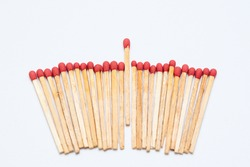 Matches stick on white background isolated close up.