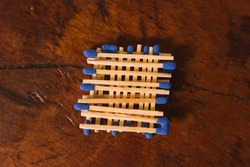 Matches with the match part or blue head, grouped on a wooden table. 3